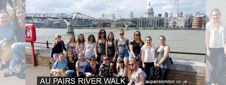 Au pairs in London meeting - river walk